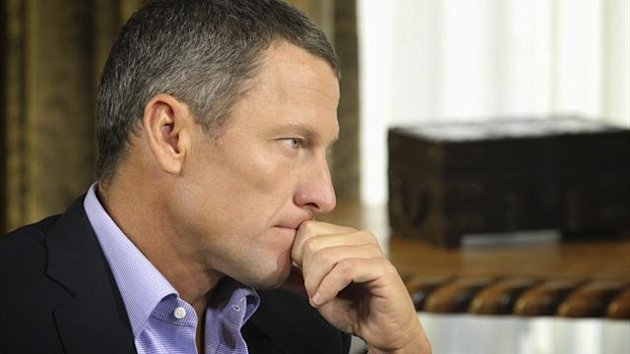 In this Monday, Jan. 14, 2013 photo provided by Harpo Studios Inc., cyclist Lance Armstrong listens to a question from Oprah Winfrey during taping for the show 'Oprah and Lance Armstrong: The Worldwide Exclusive' in Austin, Texas. The two-part episode of