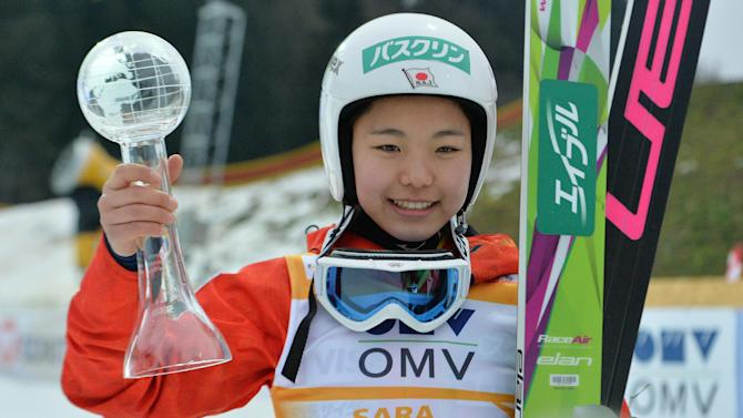 Japan's winner Sara Takanashi pose for media after the Ski Jumping World Cup Ladies event in Hinzenbach, Austria, on Sunday, Feb. 2. 2014