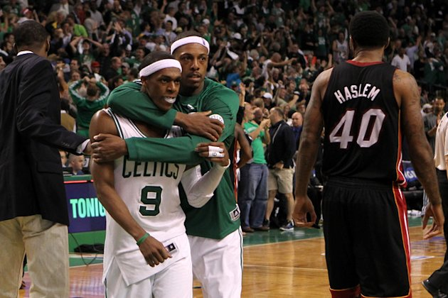 Rajon Rondo #9 And Paul Pierce #34 Of The Boston Celtics Celebrate  Getty Images