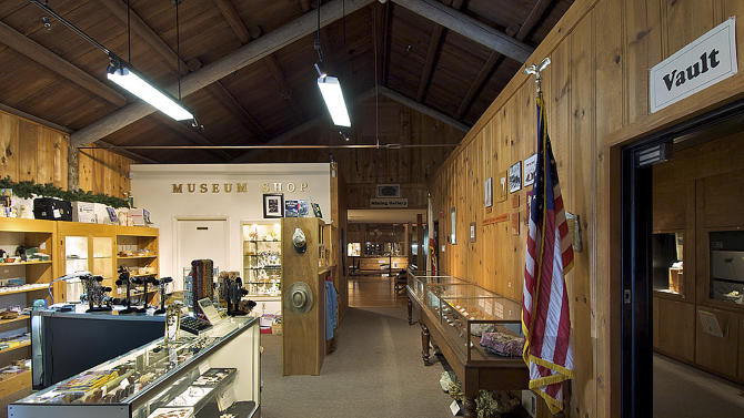 In this 2009 photo provided by the California State Parks, the California State Mining and Mineral Museum is shown in Mariposa, Calif. Authorities say thieves made off with an estimated $2 million in gold and precious gems during the armed robbery of a state mineral and mining museum Friday, Sept. 28, 2012 in the Central Valley. (AP Photo/California State Parks, John Palmer)