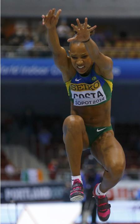 Brazil's Costa competes in women's triple jump qualification at world indoor athletics championships in Sopot