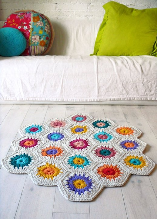 Crochet Hexagon Rug