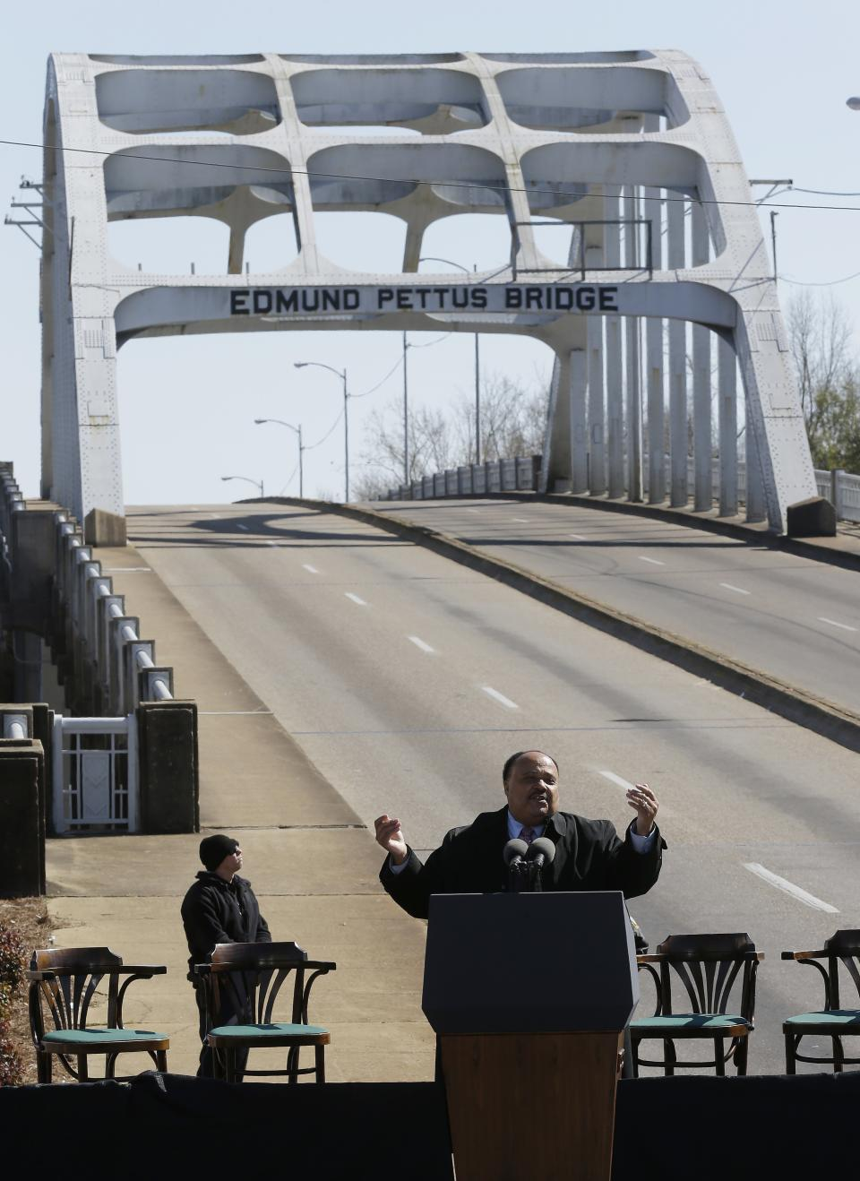 Martin Luther King III addresses those who gathered for the Bridge Crossing Jubilee in Selma, Ala., Sunday, March 3, 2013. It is the 48th anniversary since Bloody Sunday. (AP Photo/Dave Martin)