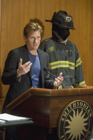 "Actor Denis Leary speaks at a news conference at the National Museum of American History in Washington, Thursday, July 14, 2011, to announce the donation of props, including the bunker gear (protective clothing) that Leary wore on the show the show ""Rescue Me"". (AP Photo/Kevin Wolf)"