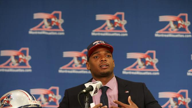 Newly signed defensive end Sam gestures as he is introduced to the media by the Montreal Alouettes CFL football team in Montreal