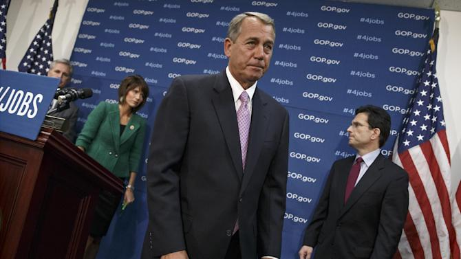House Speaker John Boehner of Ohio and GOP leaders finish a news conference on Capitol Hill in Washington, Tuesday, Jan. 14, 2014, following a weekly House Republican Conference meeting. From left are, House Majority Whip Kevin McCarthy of Calif., Rep. Kristi Noem, R-S.D., and House Majority Leader Eric Cantor of Va. The Republicans tied the recent stagnant employment reports to the policies of President Barack Obama and Democratic lawmakers. (AP Photo/J. Scott Applewhite)