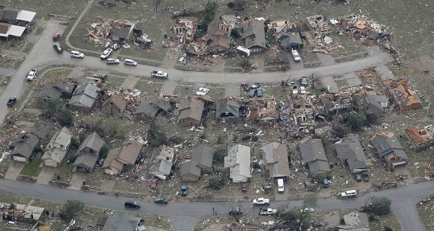 An aerial view of damage to neighborhoods in Moore, Oklahoma