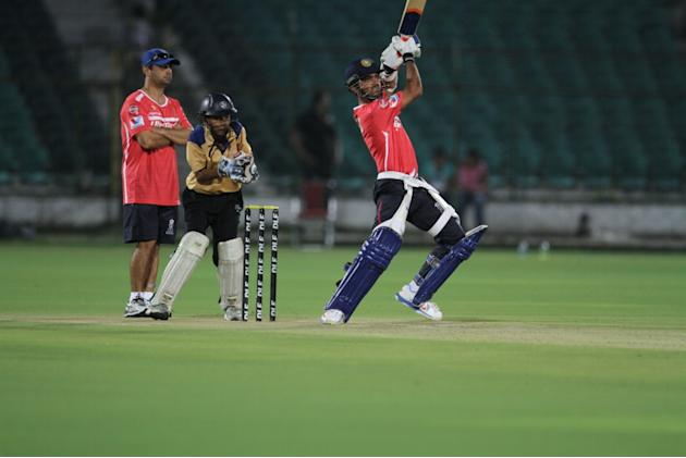 Rajasthan Royals' Ajinkya Rahane hits a shot at a night practice match at Sawai Mansingh Stadium in Jaipur on Saturday