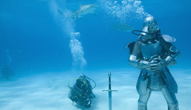 Adam Savage tests his handmade suit of shark armor in the waters off the Bahamas as seen in MythBusters episode for Shark Week 2008.