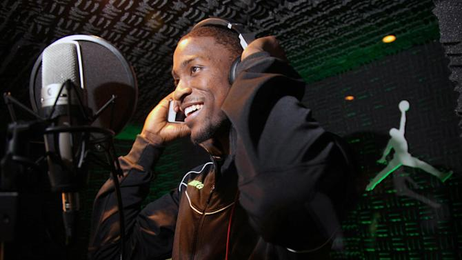 IMAGE DISTRIBUTED FOR JORDAN BRAND - Charlotte Bobcats rookie Michael Kidd-Gilchrist records a rap at the Jordan Brand Flight Deck on Thursday, Feb. 14, 2013 in Houston, TX.  Kidd-Gilchrist is one of four rookies signed by the Jordan Brand for the 2012-13 season. (Photo by Omar Vega/Invision for Jordan Brand/AP Images)
