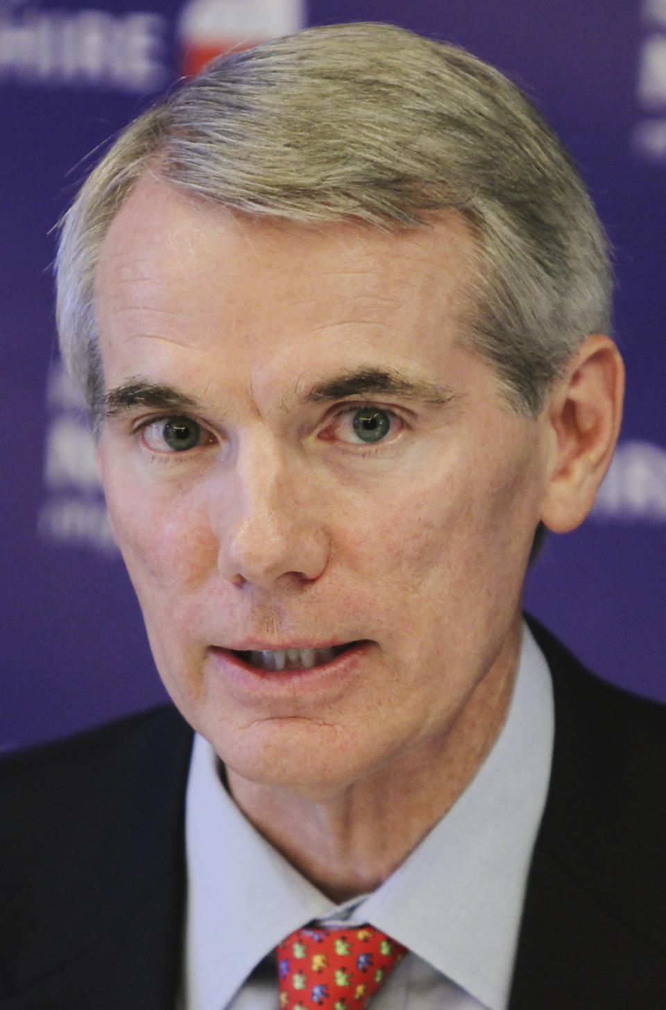 Sen. Rob Portman, R-Ohio, speaks at a media roundtable hosted by the New Hampshire Republican Party, Saturday, July 7, 2012, in Concord, N.H. (AP Photo/Cheryl Senter)