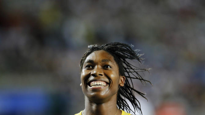 South Africa's Caster Semenya celebrates winning silver in the Women's 800m final at the World Athletics Championships in Daegu, South Korea, Sunday, Sept. 4, 2011. (AP Photo/Lee Jin-man)