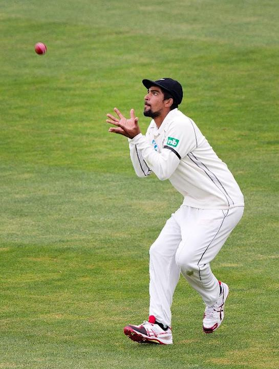 Ish Sodhi of New Zealand makes a catch against the West Indies on December 7, 2013