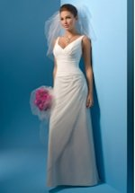 A Line V Neck Floor Length Attached Chiffon Beading Wedding Dress Style