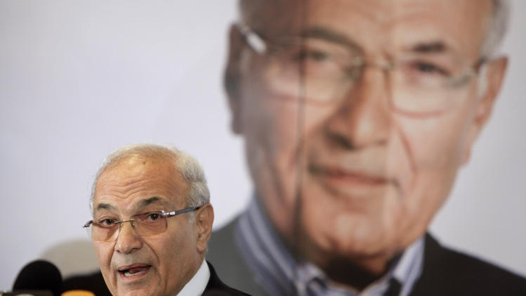 Egyptian presidential candidate Ahmed Shafiq speaks at a press conference in Cairo, Egypt, Sunday, June 3, 2012. Shafiq, the last prime minister of deposed President Hosni Mubarak, will face the Muslim Brotherhoods candidate Mohammed Morsi in a run-off on June 16-17. (AP Photo/Amr Nabil)