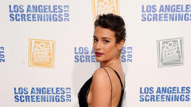 Lea Michele arrives at Twentieth Century Fox Television Distribution's 2013 LA Screenings Lot Party on Thursday, May 23, 2013 in Los Angeles, California. (Photo by Frank Micelotts/Invision for Twentieth Century Fox Television/AP Images)