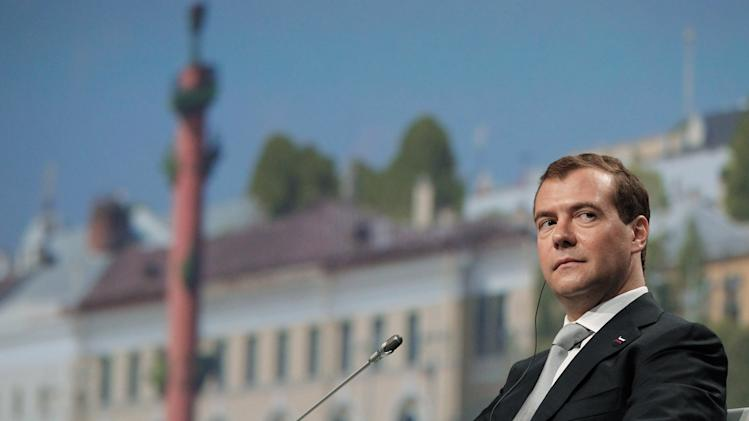 Russian President Dmitry Medvedev attends the International Economic Forum in St. Petersburg, Russia, Saturday, June 18, 2011. St. Petersburg, Russia's second-largest city, is hosting a major international economic forum. (AP Photo/RIA Novosti, Dmitry Astakhov, Presidential Press Service)
