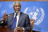 UN-Arab League special envoy Kofi Annan gives a press conference at the United Nations office, in Geneva. World powers agreed Saturday to a plan for a transition in Syria that could include current regime members, but envoy Annan doubted if Syrians would pick leaders &quot;with blood on their hands&quot;
