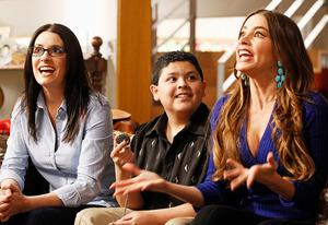 "Paget Brewster, Rico Rodriguez, Sofía Vergara | Photo Credits: Peter ""Hopper"" Stone/ABC"