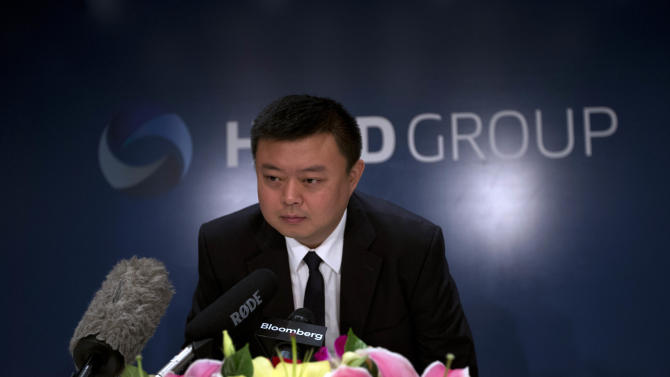 Wang Jing, chairman of Hong-Kong HKND Group, attends a press conference at a Beijing hotel Tuesday, June 25, 2013. Wang, a Chinese businessman behind the plan to build a canal in central America to rival Panama Canal said his ambitions are well researched and backed up by an experienced team, despite skepticism that the 40-year-old may not deliver the $40 billion project. (AP Photo/Ng Han Guan)