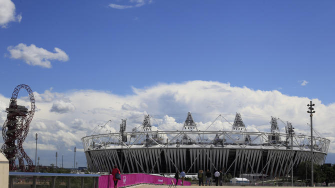 The Olympic Stadium is seen at the London 2012 Olympic Park in east London, Wednesday, July 11, 2012, as work continues to get the park ready for the summer games which begin July 27.(AP Photo/Alastair Grant)