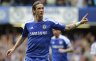 Chelsea's Fernando Torres celebrates scoring against Swansea City during their English Premier League soccer match at the Stamford Bridge Stadium, London, Saturday, Sept. 24, 2011. (AP Photo/Tom Hevezi)