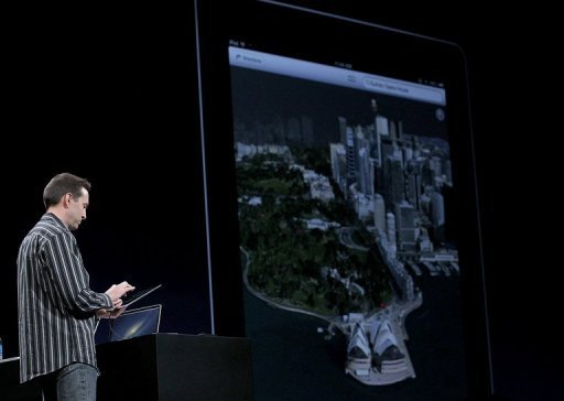 Apple Senior VP of iPhone Software Scott Forstall demonstrates Flyover, part of the new map application