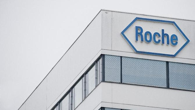 A photo taken on February 1, 2012 shows the logo of Swiss pharmaceutical giant Roche in Basel
