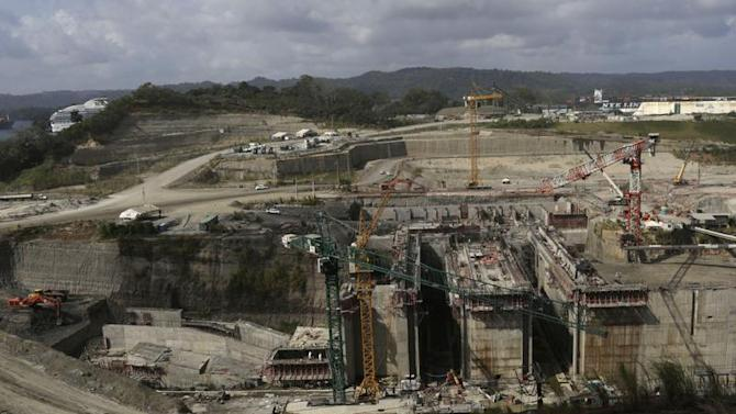 A general view of the construction site of the Panama Canal Expansion project is seen on the outskirts of Colon City