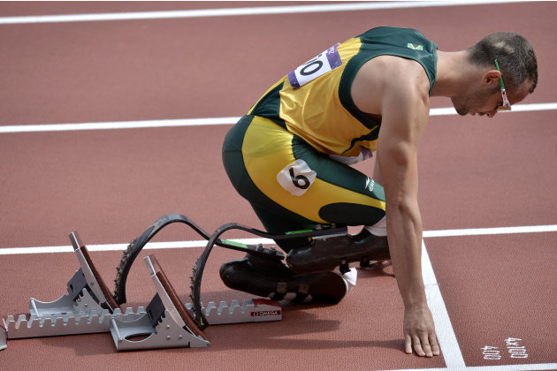 South Africa's Oscar Pistorius prepares to start in a men's 400-meter heat during the athletics in the Olympic Stadium at the 2012 Summer Olympics, London, Saturday, Aug. 4, 2012.(AP Photo/Martin Meis