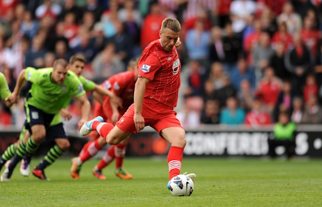 Rickie Lambert steps up to score Southampton's fourth goal from the penalty spot
