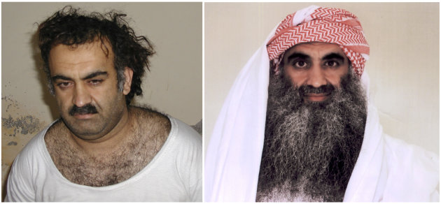 At left a March 1, 2003 photo obtained by the Associated Press shows Khalid Sheikh Mohammed, the alleged Sept. 11 mastermind,  shortly after his capture during a raid in Pakistan. At right, a photo do