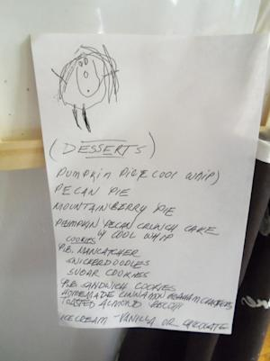 First Person: Thanksgiving Dessert List Tells a Tale