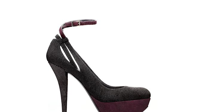 This product image released by Stuart Weitzman shows a goose-bump calfskin pump co-designed by actress Nikki Reed for a special Stuart Weitzman collection to help raise money for ovarian cancer research.  (AP Photo/Stuart Weitzman)