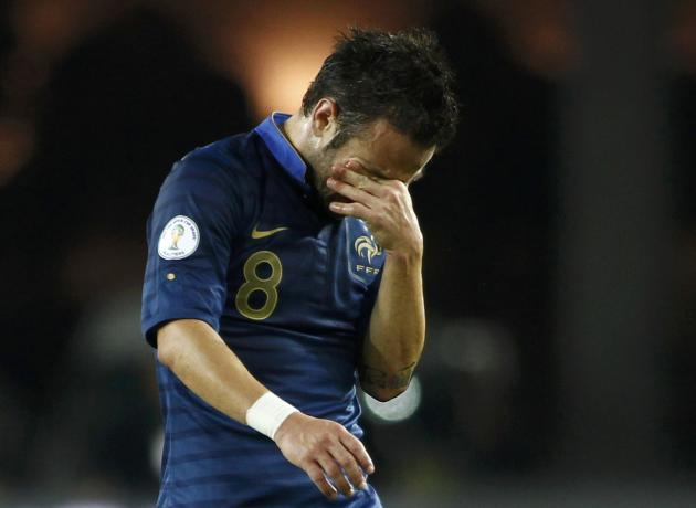 France's Mathieu Valbuena reacts after the 2014 World Cup qualifying soccer match against Georgia at the Boris Paichadze National Stadium in Tbilisi