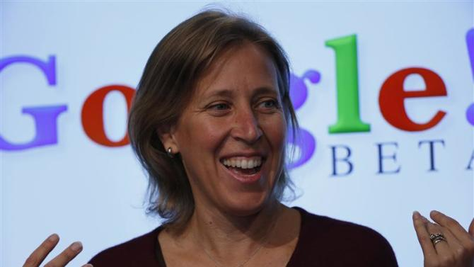 Wojcicki, senior vice president of Ads and Commerce for Google, speaks at the garage where the company was founded on Google's 15th anniversary in Menlo Park, California