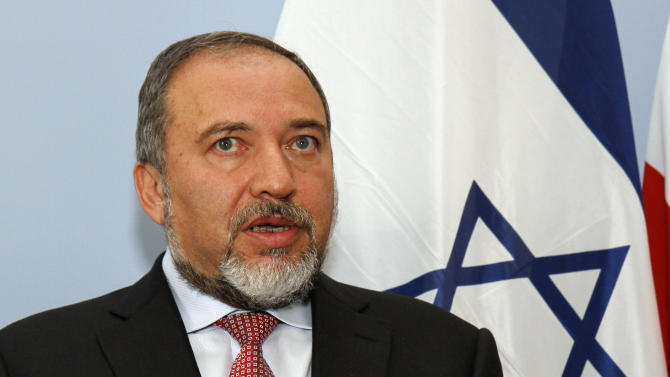 Israeli Foreign Minister Avigdor Lieberman addresses the media after a meeting with his Austrian counterpart Michael Spindelegger, not seen, in Vienna, Austria, Thursday, June 30, 2011. (AP Photo/Ronald Zak)