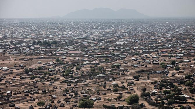 This aerial view taken on January 10, 2014 shows central Juba, South Sudan