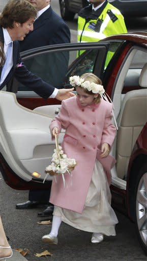 The flower girl arrives