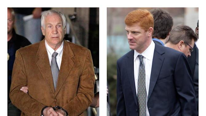 """FILE - In this combination of 2012 file photos, former Penn State University assistant football coach Jerry Sandusky, left, leaves the Centre County Courthouse in Bellefonte, Pa. in handcuffs, and former Penn State assistant football coach Mike McQueary waits in line for a public viewing for Penn State football coach Joe Paterno in State College, Pa. A man who claims to be the unknown victim molested in a Penn State shower by Sandusky in a case that led to Paterno's firing intends to sue the university for its """"egregious and reckless conduct"""" that facilitated the abuse, his lawyers said Thursday, July 26, 2012. The identity of so-called Victim 2 has been a central mystery in the Sandusky case, and jurors convicted Sandusky last month of offenses related to him judging largely by the testimony of McQueary, who was a team graduate assistant at the time and described seeing the attack. (AP Photo/Gene J. Puskar)"""