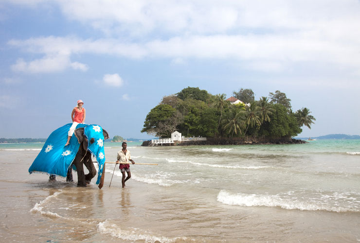 Although guests can wade to their exclusive Taprobane Island hideaway from the shores of Sri Lanka, it's more fun to ride in on an elephant.