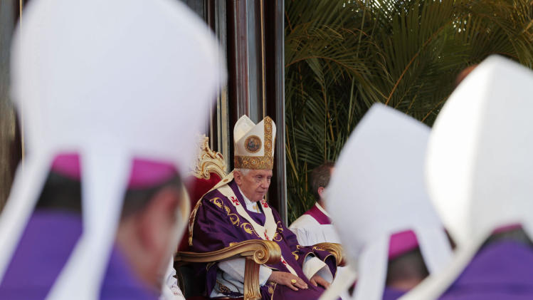 Pope Benedict XVI celebrates a Mass at Revolution Square in Havana, Cuba, Wednesday March 28, 2012. Benedict wraps up his visit to Cuba on Wednesday with an open-air Mass in the shrine of the Cuban revolution. (AP Photo/Gregorio Borgia)