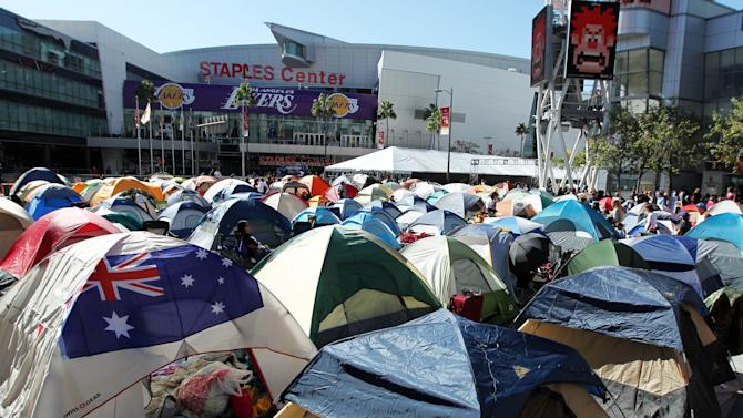 """Tents are erected inside the Twilight fan camp is ahead of the world premiere of """"The Twilight Saga: Breaking Dawn - Part 2"""" on Friday, Nov. 9, 2012 in Los Angeles. The premiere will be held Nov. 12. (Photo by Matt Sayles/Invision/AP)"""