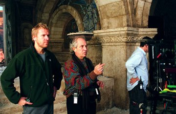Director Renny Harlin and cinematographer Vittorio Storaro in Warner Brothers' Exorcist: The Beginning