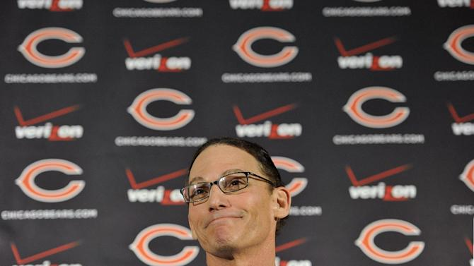 Chicago Bears NFL football team new head coach Marc Trestman talks to the media at Halas Hall Thursday, Jan. 17, 2013, in Lake Forest, Ill. (AP Photo/Jim Prisching)
