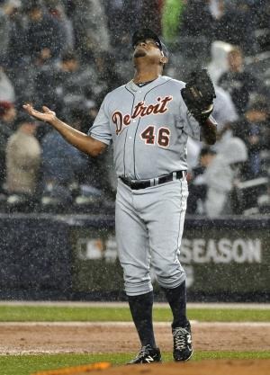 Detroit Tigers pitcher Jose Valverde celebrates the Tigers' 5-3 win over the New York Yankees in Game 2 of baseball's American League division series on Sunday, Oct. 2, 2011, at Yankee Stadium in New York. (AP Photo/Kathy Kmonicek)