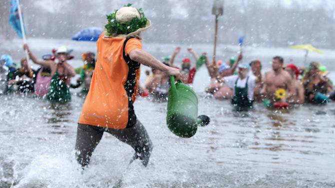 Ice Swimmers Congregate For Annual Plunge