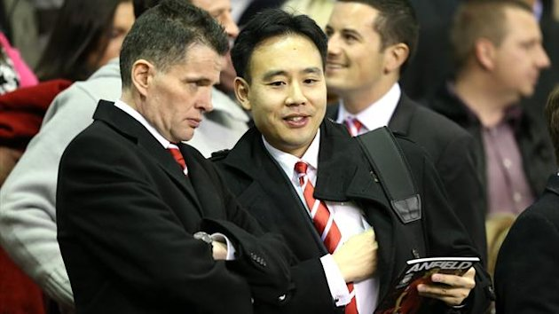 Liverpool's Director of Communications Jen Chang (right) in the stands prior to kick off (PA Sport)