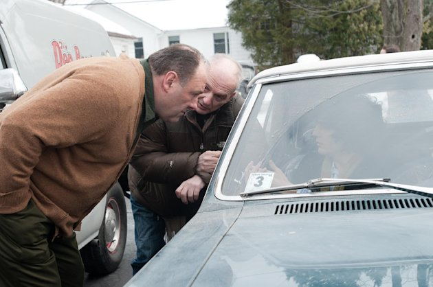 This film image released by Paramount Vantage shows James Gandolfini, left, with writer-director David Chase during the filming of &quot;Not Fade Away.&quot; The film is Chase&#39;s first movie and his long-awaited follow-up to &quot;The Sopranos,&quot; the venerated HBO drama he created and produced for six seasons. The &#39;60s rock &#39;n&#39; roll drama is set around a suburban teenager in New Jersey whose garage band aspires to be the next Rolling Stones, an ambition at odds with his traditional Italian father, played by James Gandolfini. (AP Photo/Paramount Vantage, Barry Wetcher)