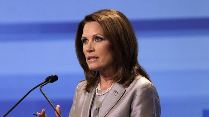 Republican presidential candidate Rep. Michele Bachmann, R-Minn. speaks during the Iowa GOP/Fox News Debate at the CY Stephens Auditorium in Ames, Iowa, Thursday, Aug. 11, 2011. (AP Photo/Charlie Neibergall, Pool)